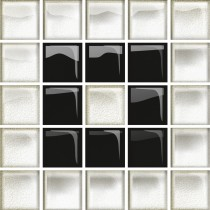 GLASS WHITE/BLACK B MOSAIC NEW 14.8X14.8 G1