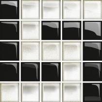 GLASS WHITE/BLACK D MOSAIC NEW 14.8X14.8 G1