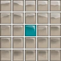 GLASS AZURE/DARK BEIGE A MOSAIC NEW 14.8X14.8 G1