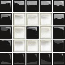 GLASS WHITE/BLACK C MOSAIC NEW 14.8X14.8 G1